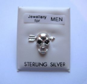 Sterling Silver Gents mens skull and arrow stud earring